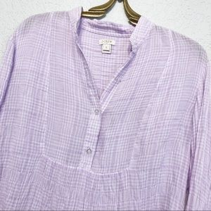 J Crew Puckered Gauze Popover Cotton Purple Plaid